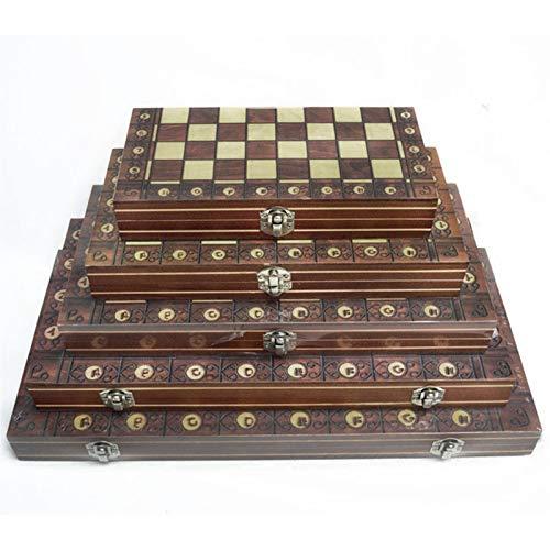 W.Z.H.H.H Schachbrett Schach super magnetische hölzerne Backgammon Checkers 3in1 Schachspiel Alte Schach Reise Schach Set Hölzernes Schachfigur Schachbrett (Color : Braun, Size : 29x29cm)