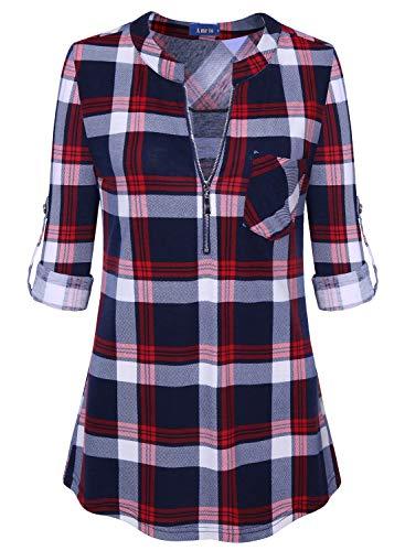 Amrto Damen V-Ausschnitt Kariert Bluse 3/4 Ärmel Reißverschluss Tunika Casual Langshirt Hemd T-Shirt Tops, Rot Kariert Large