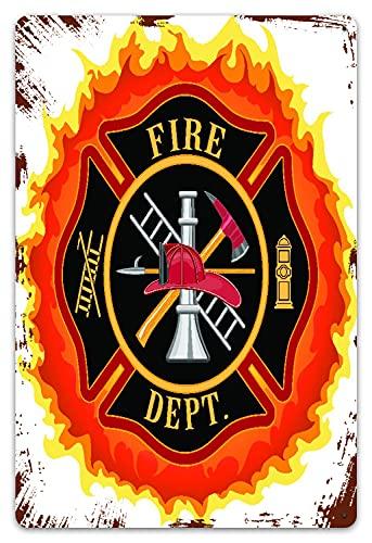 MIFSOIAVV Carteles de Metal Icono del departamento de bomberos con escalera Servicio público Herramientas esenciales de los bomberos Placa de la Pared Póster para Garage,Taller,Casa o Bar 20x30cm