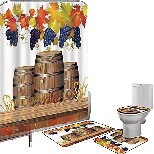 Juego de cortinas baño Accesorios baño alfombras Uvas Alfombrilla baño Alfombra contorno Cubierta del inodoro Barriles de vino de madera con hojas de otoño doradas desteñidas Diseño de luz solar de ot