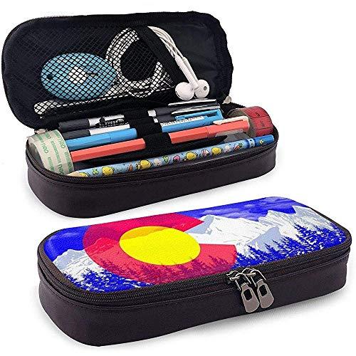 Étui à crayons en cuir Snow Mountain, trousse de maquillage de voyage, boîte à étuis