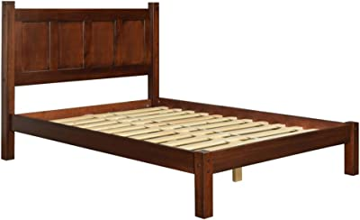 Modern Shaker Solid Wood Queen Panel Platform Bed - Includes Modhaus Living Pen (Cherry Finish
