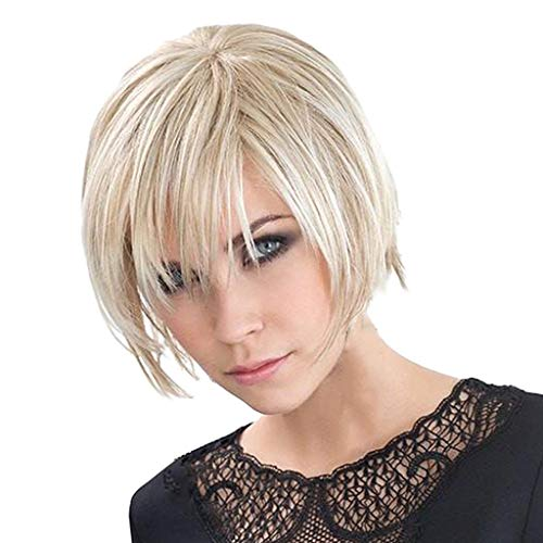 Homyl Femme Mode Perruque Synthétique de Cheveux Raide Humains Naturelle Courte Beige