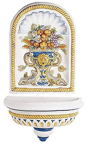 Casa Padrino Fuente de Pared Art Nouveau de Lujo Blanco/Multicolor 107 x 50 x A. 132 cm - Fuente de cerámica Hecha a Mano y Pintada a Mano - Accesorios de Decoración de Jardín Barroco y Art Nouveau