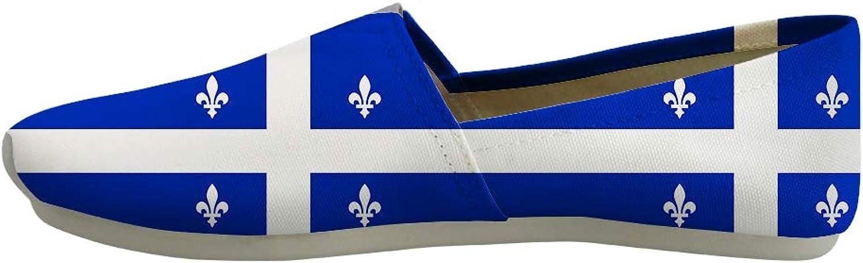 Owaheson Classic Canvas Slip-On Lightweight Driving shoes Soft Penny Loafers Men Women Fleur-de-lis Quebec Flag