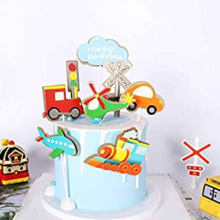 PureArte DIY Happy Birthday Transportation Theme Cake Decoration Set For Kids Party Decoration Car Train Plane Helicopter Props