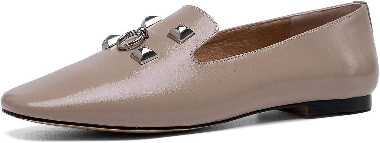 Nio Seven Woherrar Genuine läder Closed Square Square Square Toe Handgjort Comfortable Slip On Loafer Flats  lagra på nätet