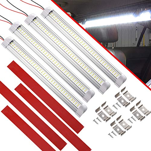 CZC AUTO 13 Inch LED Interior Light Bar 12V/24V RV Strip Light Fixture with ON/Off Switch Camp Shell Light 72 LEDs Strip Lights for Van Lorry RV Motorhome Truck Trailer Boat Cabinet Camping 4 Pack