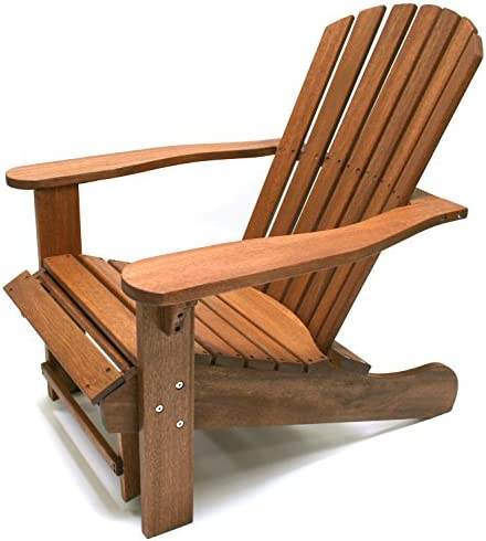 Best Outdoor Interiors CD3111 Eucalyptus Adirondack Chair and Built In Ottoman