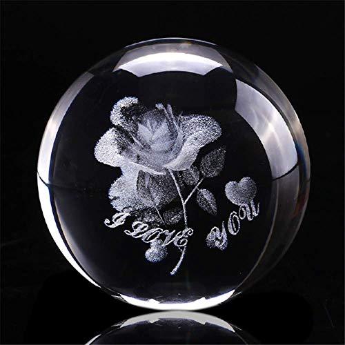 AMITD 60mm 3D Laser Aarde vier klaverblad gegraveerde roze kristallen bol miniatuur bloem globe glazen bol decoratie ornament (lieve rozen)