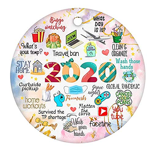 Genelion 2020 Christmas Ornament, Commemorative Ornament, Pandemic Ornament, Quarantine Ornament, Ceramic Round Ornament & Ribbon for Xmas Tree Covid_Ornament Hanging Accessories