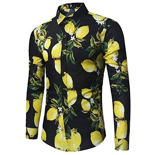 NOBRAND Camisa de manga larga con estampado de limón y frutas
