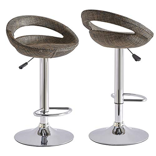 Recmaikon Rattan Barstools Set of 2 for Garden Breakfast Barstool with Backrest Adjustable Gas Lift and Chrome Footrest Base 360°Swivel Stool for Home Bar Counter Kitchen (Brown)
