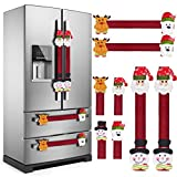 KATUMO Refrigerator Door Handle Covers Set of 8 ,Christmas Decorations Handle Cover Santa Snowman Kitchen Appliance Anti Skid Kitchen Fridge Microwave Oven Dishwasher Door Handle Covers Protector