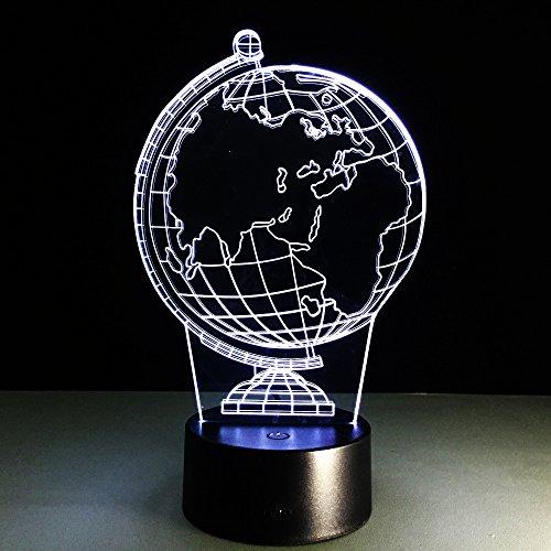 HHANN Illusion 3D Lampe Art Déco Lampe Carte De La Terre Lumières,16 Couleurs Change Veilleuse Usb Powered Enfants Cadeau Anniversaire Noël Cadeaux Décoration De Chambre À Coucher