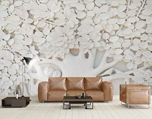 Wandbehang, personaliseerbaar, 3D-behang, 3D-behang, motief: boom met reliëf, bladeren, witte achtergrond, Europese muur 350 x 245 cm