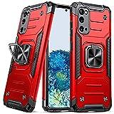 DASFOND Armor Hülle für Samsung Galaxy S20 5G mit Kameraschutz Hülle Militärische Stoßfeste Handyhülle [Upgrade 2.0] 360 ° Ständer Cover mit Auto Magnet, Rot