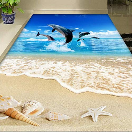 Pmhhc 3D-surfschelpen, voor woonkamer, badkamer, woonkamer, badkamer, woonkamer, zelfklevend behang met 3D-vloerbedekking 280 x 200 cm.