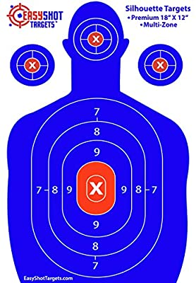 EasyShot Shooting Targets, High-Contrasting Blue & Red Colors Make it Easy to See Your Shots Land, Heavy-Duty Silhouette Targets for Shooting - 150 Free Repair Stickers Guarantee