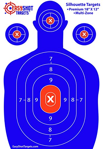 100-PACK EasyShot Shooting Targets, High-Contrasting Blue & Red Colors Make it Easy to See Your Shots Land, Heavy-Duty Silhouette Paper Sheets - 150 Free Repair Stickers, Close to Wholesale Prices.