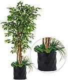 "Deluxe 72' FICUS Silk Leaf Artificial Tree + Premium Fiddle Leaf Foliage in 8"" Base + 12"" Plant Pot Skirt"