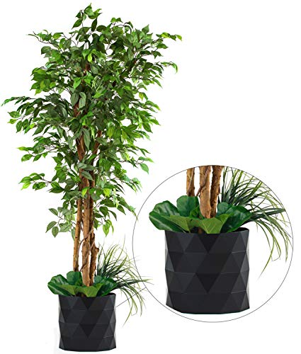 "Deluxe 72' FICUS Silk Leaf Artificial Tree + Premium Fiddle Leaf Foliage in 8"" Base + 12"" Plant..."