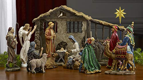16 Piece Christmas Nativity Set with Lighted Manger Stable
