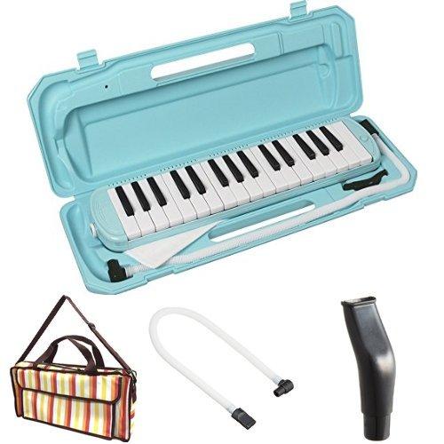 KC 鍵盤ハーモニカ (メロディーピアノ) ライトブルー P3001-32K/UBL + 専用バッグ[Multi Stripe] + 予備ホース + 予備吹き口 セット
