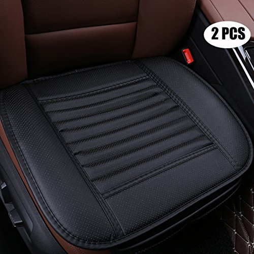EDEALYN (2 PCS Four Seasons General Pu Leather Bamboo Charcoal Breathable Car Interior Seat Cushion Cover Pad Mat for Auto Car Supplies (Black)
