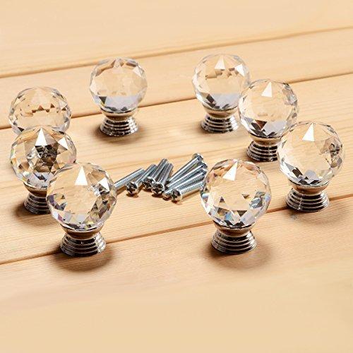 TMODD Lot de 8 boutons de porte en cristal transparent de 30 mm