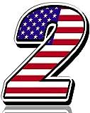 Biomar Labs® Número 2 Bandera Americana de Estados Unidos Nacional USA Calavera Vinilo Adhesivo Pegatina Coche Auto Motocross Moto Sport Start Racing Tuning N 302