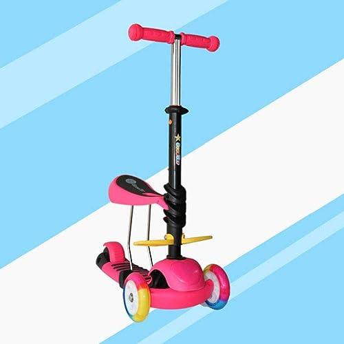 comprar mejor LEBEE Kids Scooter 3 Wheel Kick Scooter Plegable Flash Flash Flash Wheel Asa De Altura Ajustable,rojo  muchas concesiones