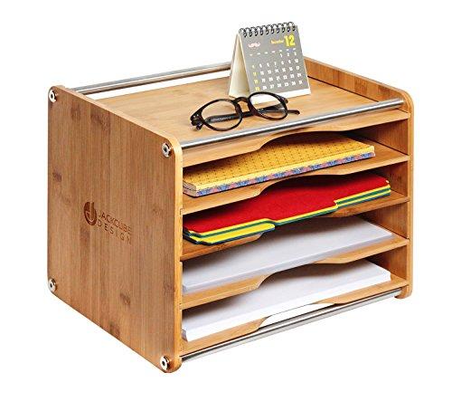 JackCubeDesign 5 Tier Bamboo Office Documento Organizador de archivos Escritorio Correo Carta A4 Papel Clasificación Caja de almacenamiento - MK388A
