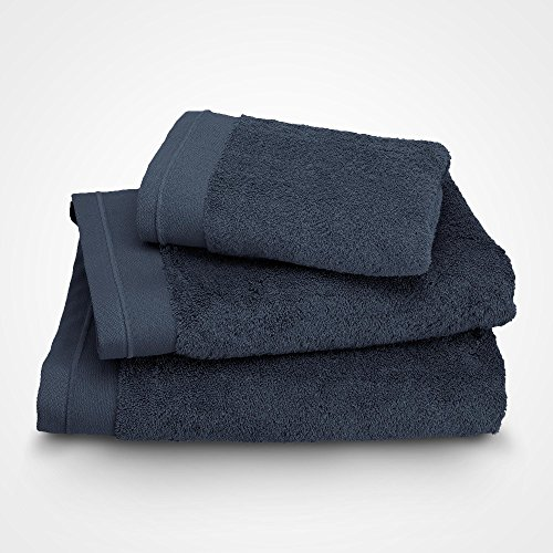 BLANC CERISE Serviette de Toilette - Coton peigné 600 g/m² - Bleu Indigo 100x150 cm
