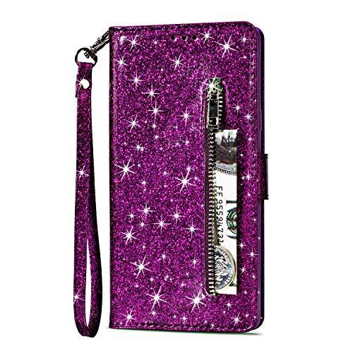 Artfeel Reißverschluss Brieftasche Hülle für Samsung Galaxy S9 Plus, Bling Glitzer Leder Handyhülle mit Kartenhalter,Flip Magnetverschluss Stand Schutzhülle mit Tasche und Handschlaufe-Lila