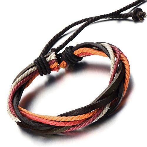 COOLSTEELANDBEYOND Pulsera Hecha a Mano, Multi-Hilo, Colores Pulsera Cuero Cuerda de Hombre de Mujer, Tejido Pulsera del Abrigo