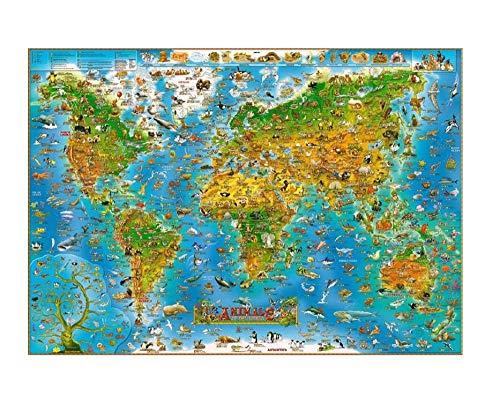 FDDPT Puzzle 1000 Piezas Mapa Mundo Animal Rompecabezas