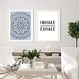 Póster de lienzo abstracto de Mandala azul, arte de pared bohemio, pintura impresa, cuadro decorativo, decoración moderna para sala de estar / 50x70cmx2 sin marco