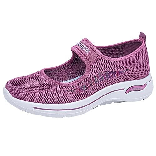 Zapatillas Mujer Casual Deportivas Caminar para Mujer Slip on Calzado de Uela Blanda Transpirable Deporte Zapatos de Correr Running Sneakers Ligeras Zapato(M08_Purple,40)