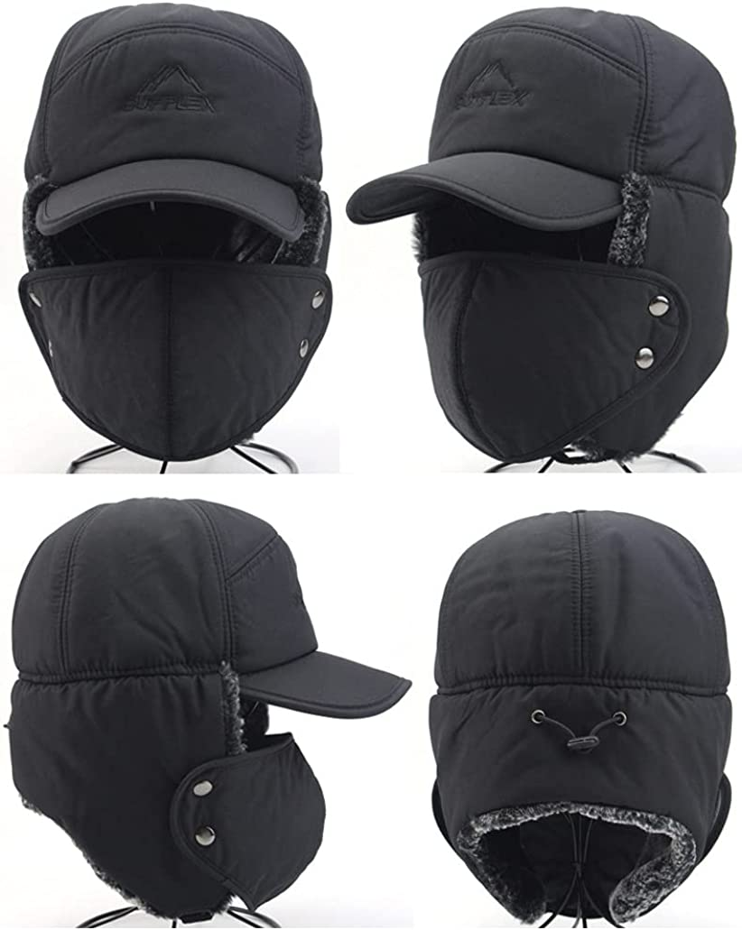 MyKrazyTees Winter 3 in 1 Thermal Fur Lined Trapper Bomber Hat,with Ear Flaps Mask Warmer Windproof Baseball Ski Cap
