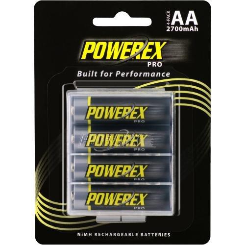 Powerex Pro AA 2700mAh, Baterías Recargables NiMH, 4 baterías + Estuche