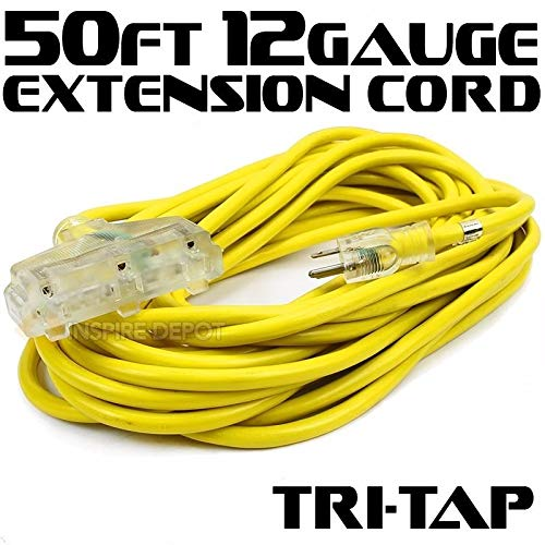 XtremepowerUS 50FT 12 Gauge Extension Power Electricity Cord Copper Wire UL approval 125V, 15Amp Current Cable W/Clear TRI-TAP Plug