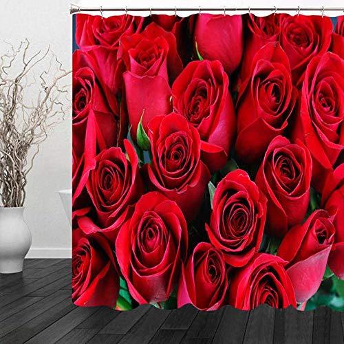 Nobrand douchegordijn grote hoeveelheid rode rozen patroon badgordijn waterdichte stoffen badgordijnen Home Hotel badproducten