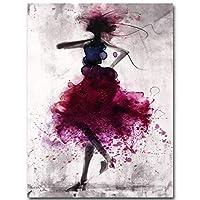ファッションレッドガールミニマリスト抽象芸術キャンバスオイルプリント絵画モダンお祝 (Size:L; Color:Framed)