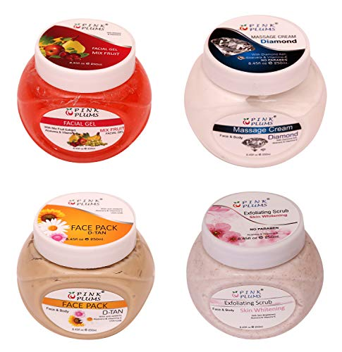 Pink Plums Skin-Whitening Scrub , D-Tan Face Pack , Diamond Massage Cream , Mix Fruit Facial Gel for Face with Vitamin E - 250 ml Each (Combo Pack of 4)