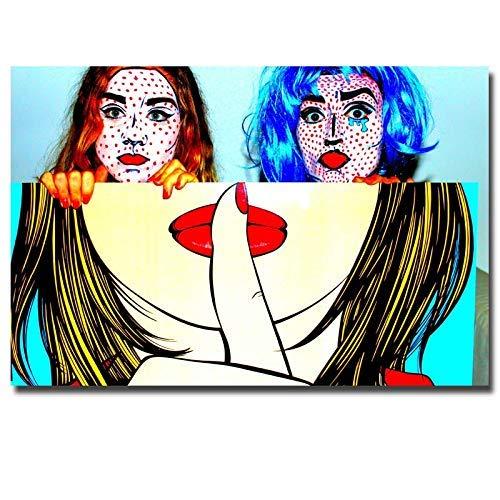 zhuziji Pared Imprime Pintura al óleo sobre Lienzo Labios Rojos Cartel Abstracto e Impresiones Moderna Pintura Mural Sala de Arte pop40x60cm(Sin Marco)