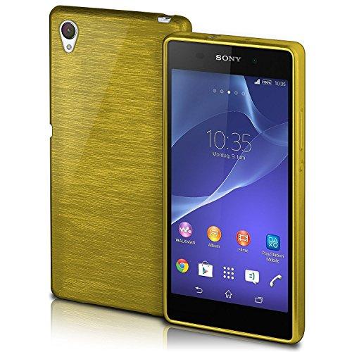 MoEx® Funda de Silicona con Aspecto Aluminio Cepillado Compatible con Sony Xperia Z2 en Vert