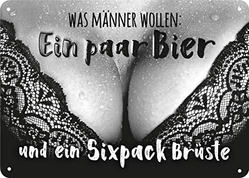 Blechschild mit Spruch, Blechschild Bier, Retro Blechschild, Vintage-Schild, Metall, 15x21 cm, Motiv: Bier
