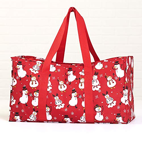 Multifunctional Utility Holiday Tote with Shoulder Straps - Snowman Red
