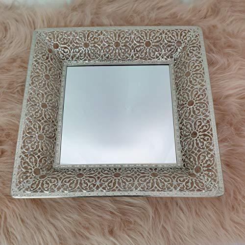 ZD Trading Spiegel Tablett Deko Metall Kerzen Teller Servier Wandspiegel 2in1 Shabby Silber